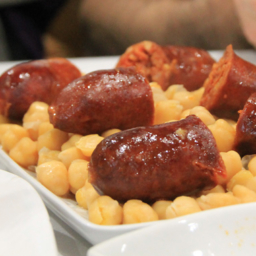 Chorizo with chickpeas traditional galician food Cocido Lalin