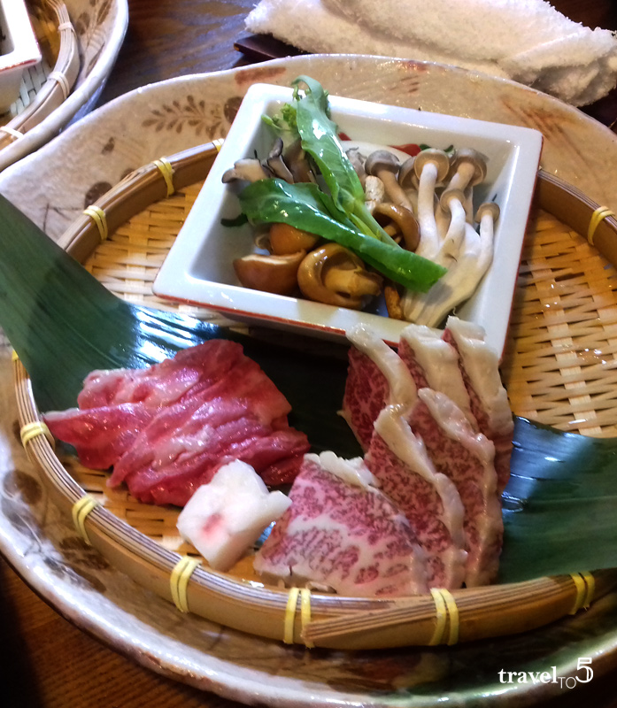 eating Hida beef Japan