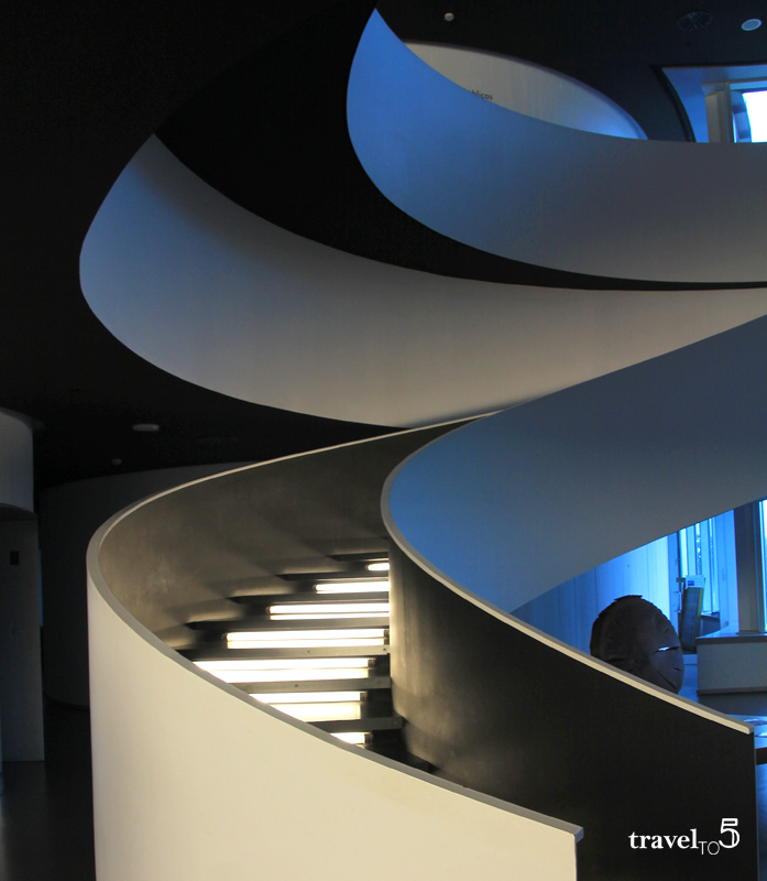 Modern architecture stairs Lalin Town Hall Galicia