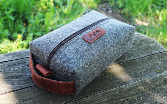 felt Travel bag with waxed leather