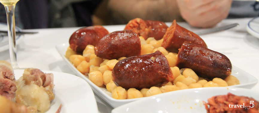 Chorizo with chickpeas traditional galician food Cocido