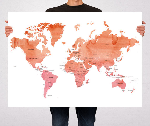 Gift for travelers watercolor map macanaz