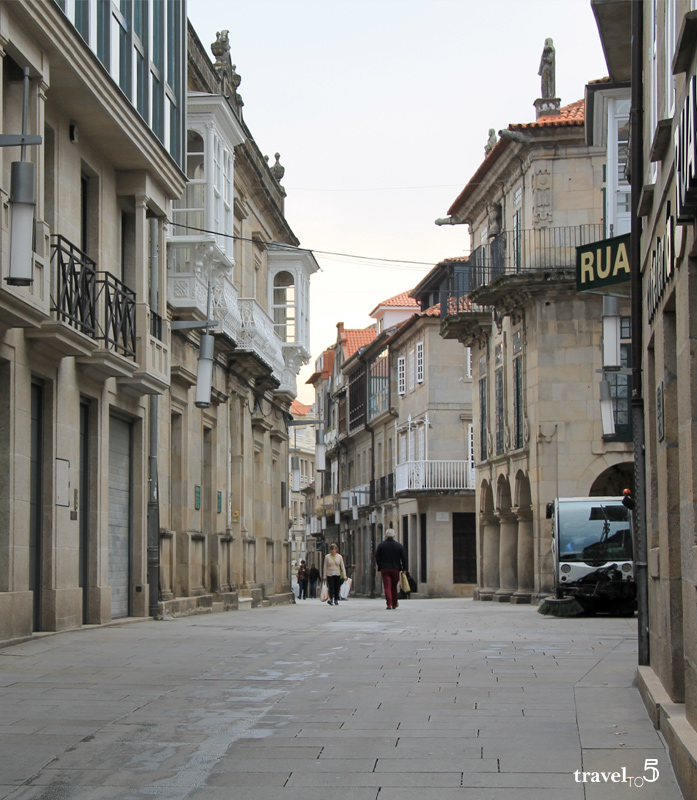 Museum of Pontevedra and streets at morning