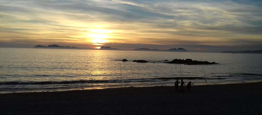Vigo beach Samil, photo of Cies Islands