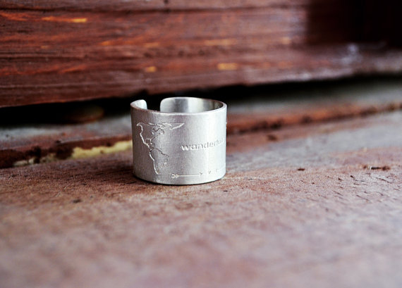 engraved world map ring BubbelBox Etsy